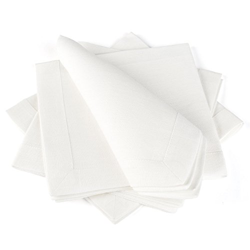 Flax Color (Linen Cloth Table Napkins — Soft and Durable — Set of 4, 16