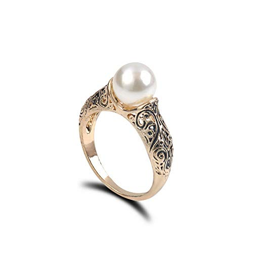 Wausa Women Retro Jewelry Ring Artificial White Pearl Ring Engagement Charm Gifts | Model RNG - 9512 | 8