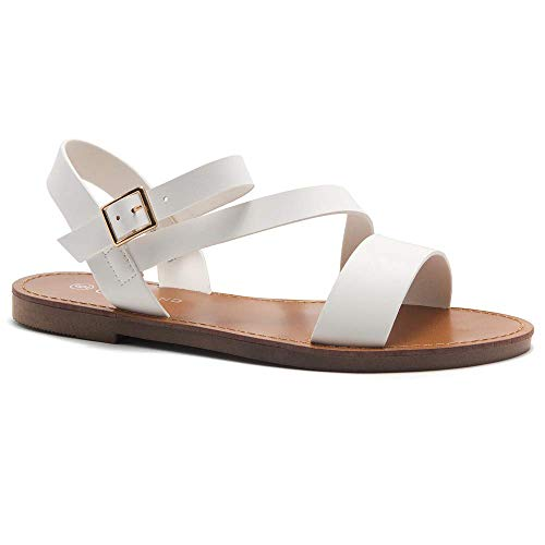 Herstyle Merina Women's Open Toes Ankle Strap Flat Sandals White 8.5