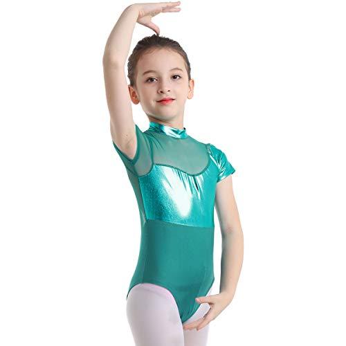 ACSUSS Kids Girls Short Sleeves Mock Neck Shiny Metallic Gymnastics Ballet Dance Leotard Unitard Bodysuit Dancewear Lake_Blue 8