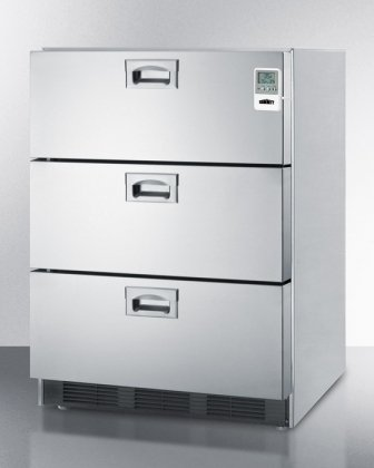 Summit SP6DS7MEDADA 24'' Wide 5.4 Cu. Ft. Built In Three-Drawer Refrigerator with Automatic Defrost Adjustable Thermostat Commercially Approved and Alarm with Temperature Display in Stainless by Summit