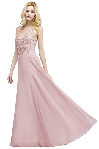 Rosa Ballkleid MisShow 46 Perlenstickerei 32 EU Maxilang Spitze Elegant Chiffon Abendkleid Damen Brautjungfernkleid PrgP0qw7x