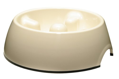 Dogit Go Slow Anti-Gulping Dog Bowl, White, (Extra Small Bowl)