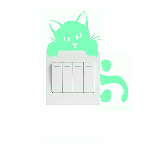 Toeoe 3Pcs Creative Wall Decorative Vinyl Decal Glow in the Dark, Light Switch Decor Removable Skin Sticker, Home Decor Removable Art Mural Baby Nursery Room - Creeping Cat
