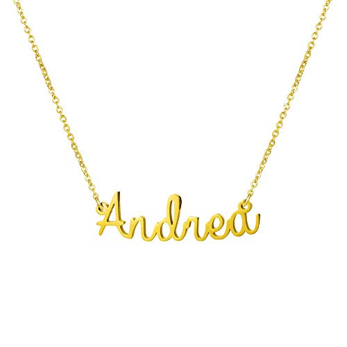 Yiyang Personalized Name Necklace 18K Gold Plated Stainless Steel Pendant Jewelry Birthday Gift for Girls (Andrea)