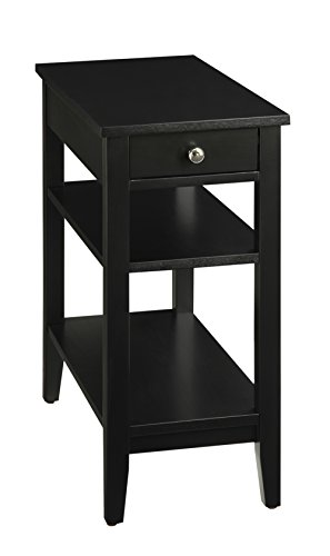 (Convenience Concepts American Heritage 3-Tier End Table with Drawer, Black)