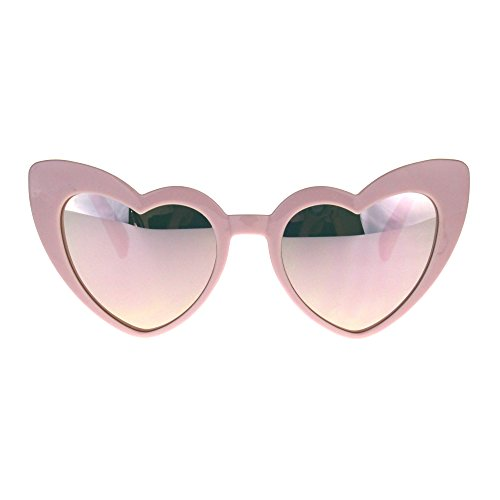 Womens Heart Shape Color Mirror Cat Eye Plastic Groovy Sunglasses - Funk Sunglasses