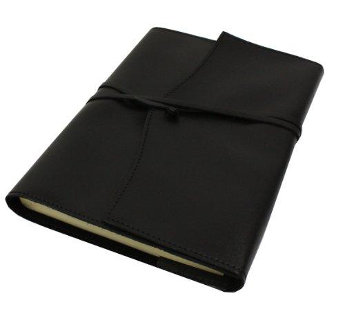 Papuro Milano Refillable Handmade Italian Black Leather Address Book - 15 x 21 cm by Papuro