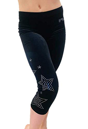 LIL'FOX Black Stretch Velvet 3/4 Leggings Star Rhinestones Gymnastics & Dance (Adult Extra Small) with Bonus Cotton Bag