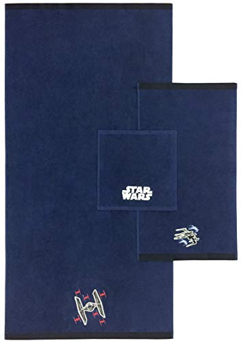 Star Wars Classic Kids 3 Piece Bath Towel Set – Bath, Hand, Washcloth Set Featuring TIE Fighter - Super Soft & Absorbent Fade Resistant Cotton Towels (Official Star Wars Product)