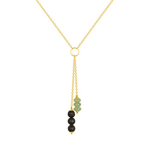 - Lava Stone and Aventurine Y-shaped Necklace Essential Oil Diffuser Necklace with 18K Gold Plated Chain Handmade Pendant Jewelry for Women Adjustable Long Tassel Necklace