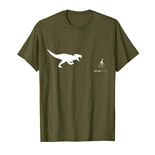 iZZZHH Mens Summer Fashion Casual Letter Solid Color Funny Dinosaur Print Short Sleeve T-Shirt Blouse(Army Green,L) -