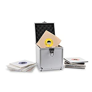 """Acc-Sees Pro Vinyl 45 Carry Case – Vinyl Record Storage Box – Silver – Holds 50 x 7"""" Singles – Lightweight and Robust – Fully Lined and Padded Interior"""
