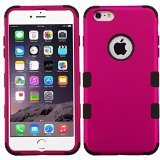 Asmyna Titanium Tuff Hybrid Phone Protector Cover for iPhone 6 Plus - Retail Packaging - Solid Hot Pink/Black