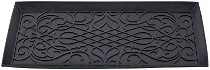 Superio Rubber Boot Shoe Tray, 34 x 14 x 2 Rectangle, Heavy Duty, Protects Floors from Water and Dirt, Waterproof for All Weather Indoor Outdoor Use,