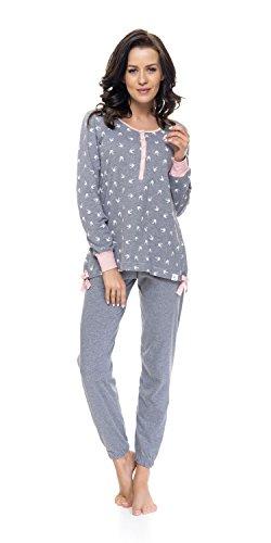 Rosa Nightwear e per a pigiama maniche pigiama gravidanza allattamento lunghe donna Isabella Grigio DN da 8Rd68w