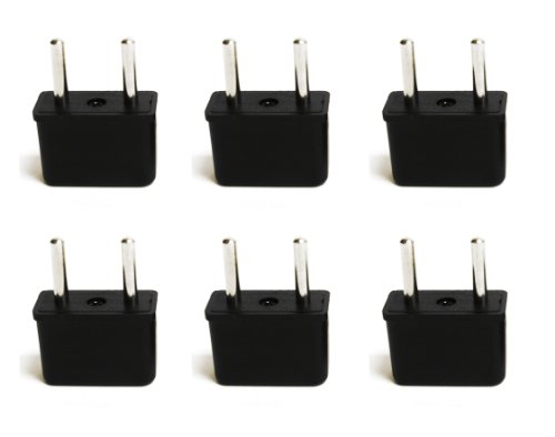 Ceptics USA to Europe Asia Plug Adapter - CE Certified - RoHS Compliant - 6 Pack (Euro Plug Converter)