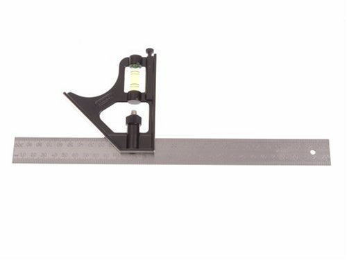 Stanley Kombinations-Anschlagwinkel (mit Metallgriff, Stahlblatt mit mm-Einteilung, Wasserwaagenlibelle) 2-46-222 BLAMT