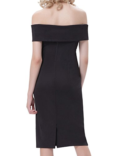 Package Hip Cocktail Pencil Dress for Women Evening (M, Black)