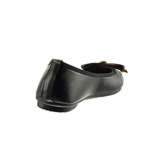 Angkorly - Scarpe da Moda ballerina slip-on donna nodo metallico Tacco tacco piatto 1 CM - Nero