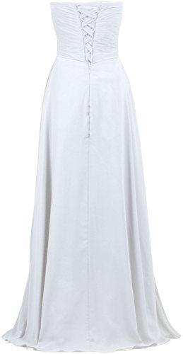 Formiche Promenade Sera Donne Spalline Abito Da Vestiti Di Chiffon Plissettato Senza Bianco Formale Lungo Di Delle 8UgqnF6