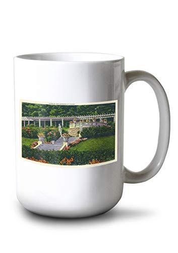 Lantern Press Saratoga Springs, New York - View of The Gardens at Yaddo (15oz White Ceramic Mug) - Yaddo Gardens