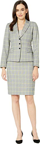 Tahari by ASL Women's Plaid Peak Lapel Jacket Skirt Suit Grey/Sunflower 12 -