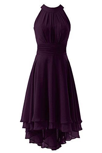 Dress Short Dresses High Bridal Grape Prom Kevins Bridesmaid Women's Low Halter Chiffon TIAvnq7w