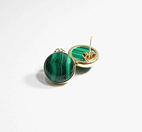 Malachite Gemstone Stud Earrings Handmade 14K Solid Yellow Gold Fine Jewelry 14k Malachite Stud
