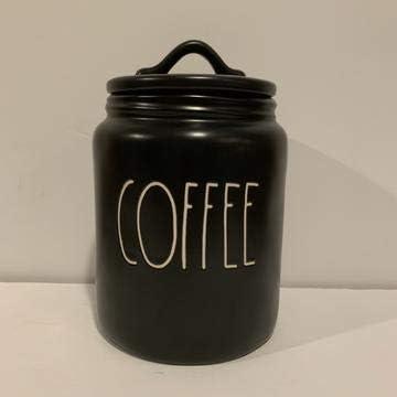 "Rae Dunn""COFFEE"" セラミック ファームハウススタイル キャニスター ブラック 7 3/4インチ"