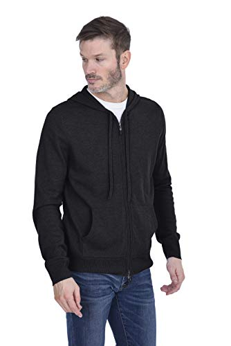 Cashmeren Men's 100% Pure Cashmere Full Zip Pullover Hoodie (Charcoal, X-Large) ()