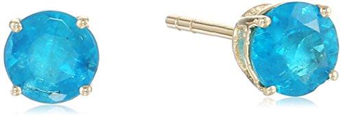10k Yellow Gold Neon Apatite Round Stud Earrings