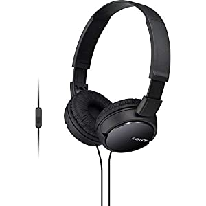 Sony MDR-ZX110AP Extra Bass Smartphone On-Ear Headphones Headset with Mic (Black)