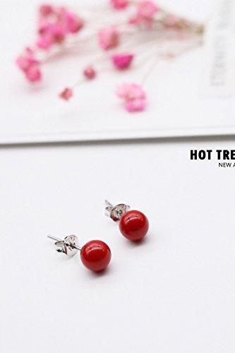 Generic 925_ silver _red_bean ear Nail earrings women girls _red_ earrings Earring eardrop _temperament mother pearl _sterling_ silver _sweet_temperament_ jewelry _cinnabar_red