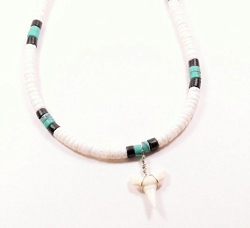 Hawaiian White Puka Shell Turquoise Bead Necklace with Shark Tooth (18 Inches)