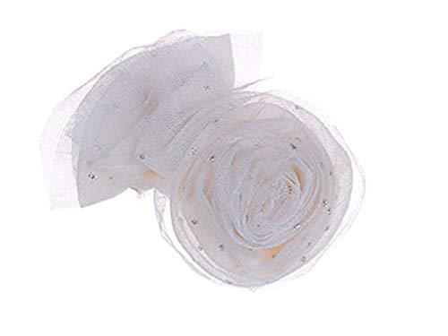 Alilang Cream Fabric Mesh Net Glitter Accent Rose Rosette Head Piece Alligator Hair Clip