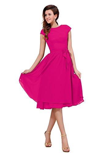 Fuchsia Chiffon Zipper (Dasior Women's Cap Sleeve Chiffon Holiday Party Bridesmaid Dress with Bow US10 Fuchsia)