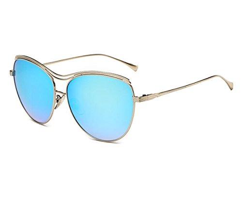 Konalla Oversized Full Metal Crossbar Flash Cat Eye Lens Sunglasses for Womens - Octagon Rimless Eyeglasses