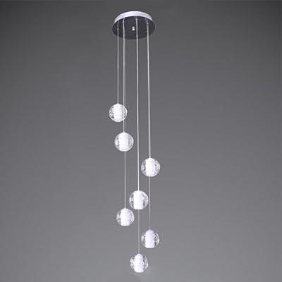 Modern K9 Crystal Chandelier Raindrop Flush Mount LED Ceiling Light Fixture 7 Lights G4 Bulbs Pendant Lamp Crystal Ball Adjustable for Dining Room Bathroom Bedroom Livingroom Stairs Foyer Hotel