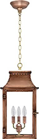 "Breaux Bridge Electric Antique Copper Hanging Lantern (Large 22"" X 12.75"")"