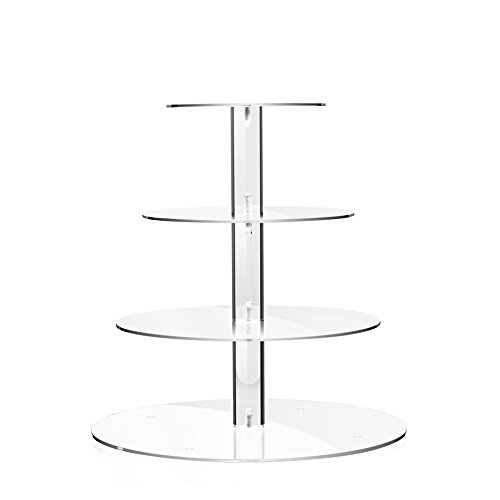 TWING 4 Tier Round Acrylic Cupcake Display Stand,Weeding Party Dessert Stand Tree Tower -Clear Display Holder Tree -