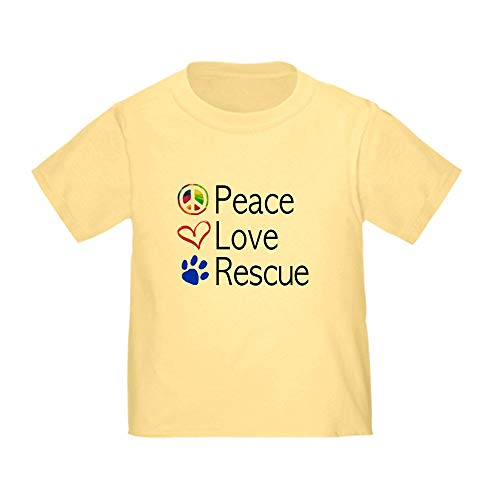 (CafePress Toddler Peace Love Rescue T Shirt Cute Toddler T-Shirt, 100% Cotton Daffodil Yellow)