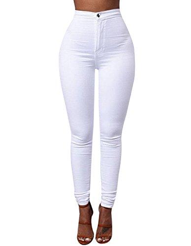 Burvogue Vaqueros Blanco Blanco Mujer Mujer para Vaqueros para Burvogue q4RFFfPwI