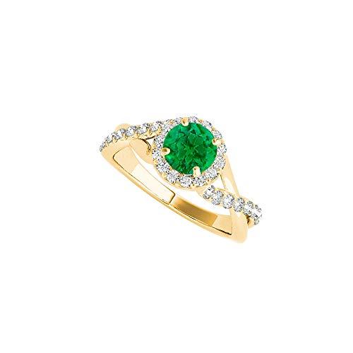 Criss Cross Emerald CZ Ring in 18K Yellow Gold Vermeil