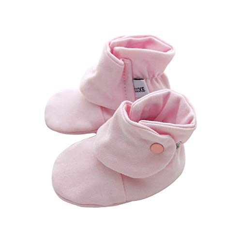 - Luxe Girl Cotton Baby Booties with Snaps Gribbers Soft Sole Crib Shoes (0-3 Months) Pink
