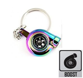 4agegarage 1 Pcs Universal Turbo Charger Bearing Spinning Turbine Key Chain Neo Rainbow (1 Spinning Pc)