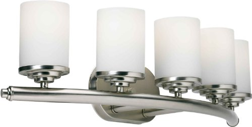 Forte Lighting 5105-05-55 Transitional 5 Light Vanity Fixture, Brushed Nickel Finish with Satin Opal Glass