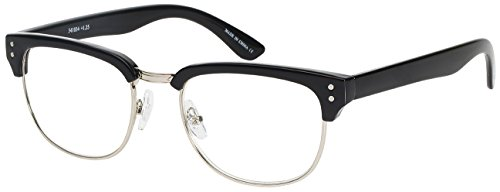 (Edge I-Wear Retro Semi-Rimless Horned Rim Readers for Men SOHO Women Reading Glasses 1.25 E41034-+1.25-3(BLK+SIL) )