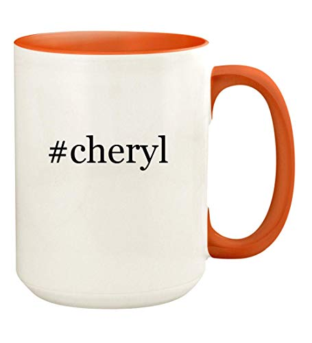 #cheryl - 15oz Hashtag Ceramic Colored Handle and Inside Coffee Mug Cup, Orange