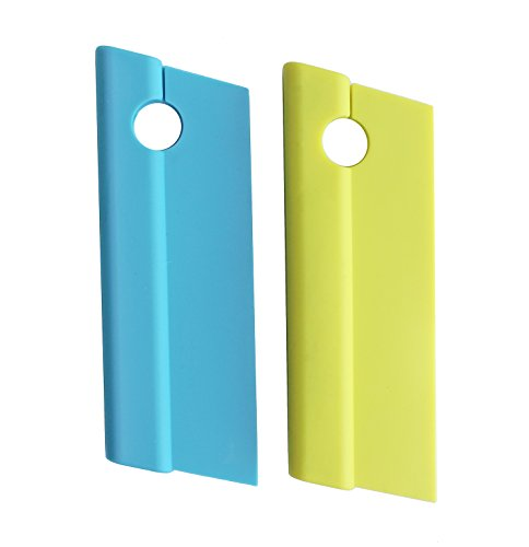 2-Pack Silicone Blade Squeegees with Hanging Hole,Compact Cleaner for Kitchen Countertops,Bathroom Shower Mirrors and Car Windows,Blue/Green,Honla